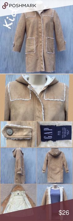 Kids faux suede fur-lined coat Really nice coat from the Gap in a Kids' size medium (7/8).  Shell is a super soft suede-like material in tan, with luxuriously fluffy faux fur lining and trim in cream.  Hood and front pockets lined and warm, with front zipper and snaps.  Excellent, like-new condition.  Check exact measurements in picture for sizing. GAP Jackets & Coats