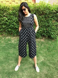 Black Ikat Jumpsuit From The House Of Threeness. Featuring A Simple And Elegant Black Kurta Designs Women, Salwar Designs, Blouse Designs, Kalamkari Dresses, Ikkat Dresses, Western Dresses For Women, Frock For Women, Frock Models, Casual Indian Fashion