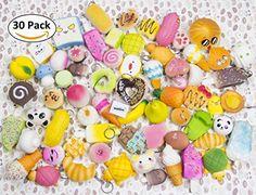 WATINC Random 30 pcs Squishy Cream Scented Slow Rising Kawaii Simulation bread dessert Jumbo Medium Mini Soft squishies Cake/Panda/Bread/Buns Phone Straps (30P Donuts)
