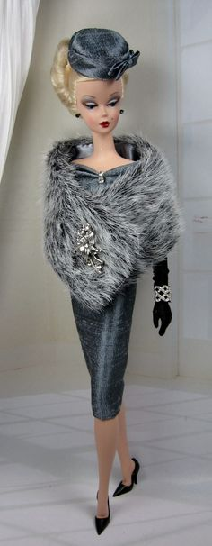 """""""Along the Seine"""" outfit by Matisse on a Silkstone Barbie   She's beautiful but I hope that's NOT real fur!    11 November 2013"""
