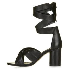 TopShop Nola Soft Knot Sandals (1 460 ZAR) ❤ liked on Polyvore featuring shoes, sandals, black, tie sandals, black chunky heel sandals, leather sandals, wide heel sandals and black leather sandals