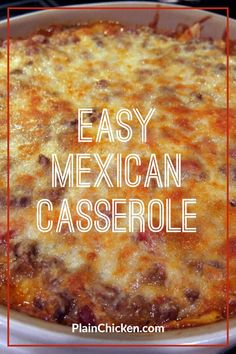Mexican food recipes 363665738663256126 - Easy Mexican Casserole – tortilla chips, taco meat, beans, tomatoes, and cheese – top with your favorite taco toppings! Can make ahead and freeze for later. Easy Mexican Casserole, Easy Casserole Recipes, Casserole Dishes, Easy Mexican Dishes, Easy Mexican Food Recipes, Cornbread Casserole, Mexican Desserts, Tostadas, Tacos
