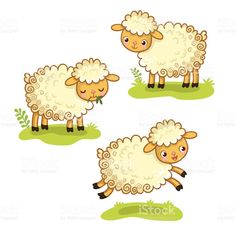 Cartoon Sheep Set by svaga Cute cartoon sheep set. A collection of vector illustration with sheep is standing, chewing, jumping. Cartoon Cartoon, Cartoon Lamb, Sheep Cartoon, Cartoon Styles, Cartoon Drawings, Animal Drawings, Baby Sheep, Cute Sheep, Sheep And Lamb