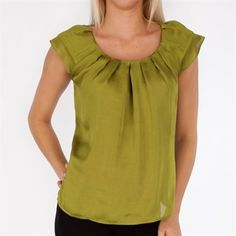 Violet & Claire Pleat Front Hammered Satin Blouse