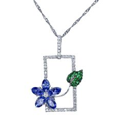 Exquisite Tanzanite 18K White Gold Sapphire Tsavorite Diamond Le Jardin Window Womens Necklace Pendant: Jewelry