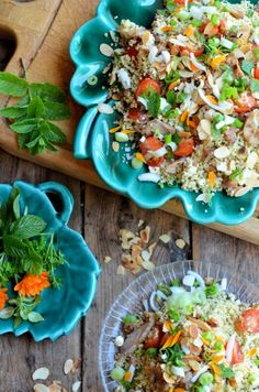 """Edible flowers - """"Arabian Nights"""" Tabbouleh Salad with Chicken, Feta & Marigold Petals http://www.lavenderandlovage.com/2014/06/arabian-nights-tabbouleh-salad-recipe-for-the-new-app-uniform-foodies.html"""
