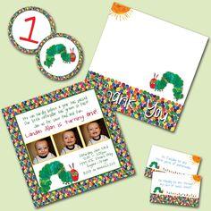 The Very Hungry Caterpillar Custom Photo Birthday Invitation Printable Party Pack. $20.00, via Etsy.