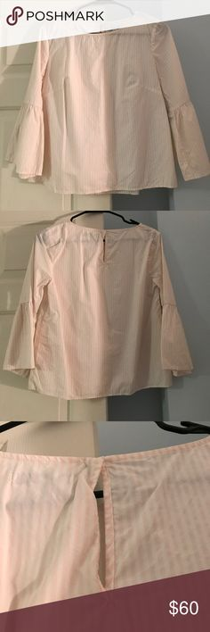 Madewell Bell Sleeve Top Worn once Madewell baby pink and white striped bell-sleeves top. Size S. Button neck closure in back. 100% cotton.  Absolutely no imperfections, just in need of a good steaming! Madewell Tops Blouses