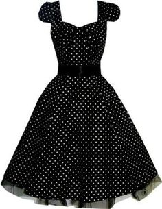 Pretty Kitty Fashion 50s Polka Dot Black Vintage Swing Prom Pin-Up Tea Dress - SIZES UK 8-26 - Was: £49.99 Now: £29.99 [UK & Ireland]