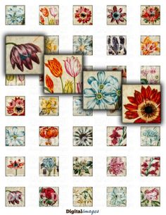 1x1 Vintage Flowers 1 inch squares inchies