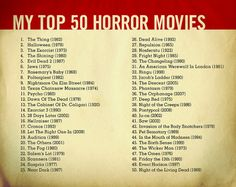 I did this list of scary movies a while back and lately people have been asking me for it. Even though I see it as more sci-fi than horror, I'm missing the first Alien on here.    NEW updated list here:    www.flickr.com/photos/18097936@N00/8094940601/     How about viewing premium movies from a variety of genres on your computer with NO monthly payments, NO extra hardware required, and NO restrictions