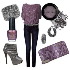 really cute gray and purple look