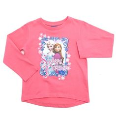Pink top with glittery image of Disney Frozen characters, Anna and Elsa.