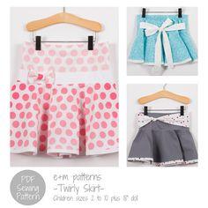 Girl's Skirt Sewing Pattern - Twirly Skirt - PDF Sewing Pattern on Etsy, $5.00