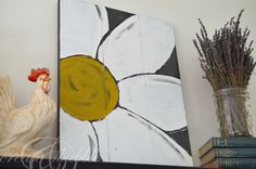 Easy Daisy Wall Art - Create and Babble Daisy Painting, Easy Canvas Painting, Primitive, Rooster, Wall Art, Create, Decorating Ideas, Walls, Inspiration
