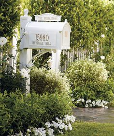 "What a pretty mailbox! The original poster said, ""Sure to make an impression compatible with your home, our incredibly rugged Capitol Monogrammed Mailbox is ready for personalization. Mailbox Garden, Diy Mailbox, Mailbox Landscaping, Mulch Landscaping, Mailbox Ideas, Fence Ideas, Mailbox Decorating, Mailbox Designs, Garage Ideas"