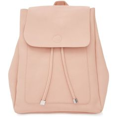 New Look Pink Leather-Look Backpack (£20) ❤ liked on Polyvore featuring bags, backpacks, backpack, pink, handle bag, draw string bag, fake leather backpack, faux leather drawstring backpack and drawstring backpacks