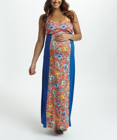 Look what I found on #zulily! PinkBlush Blue Floral Maternity Maxi Dress #zulilyfinds
