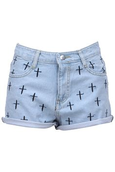 Shop Cross Embroidery Light-blue Shorts at ROMWE, discover more fashion styles online. Diy Summer Clothes, Summer Outfits, Hot Shorts, Casual Shorts, Pretty Outfits, Cute Outfits, Pretty Clothes, Light Blue Shorts, Latest Street Fashion