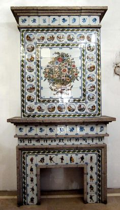Dutch Tile Fireplace Mantel made by Royal Tichelaar of Makkum   From a unique collection of antique and modern fireplaces and mantels at http://www.1stdibs.com/furniture/building-garden/fireplaces-mantels/