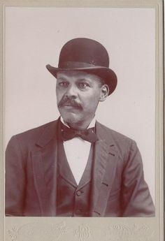 dc8b4c351d6 African American Gentleman- Mustache   Bowler Hat- Victorian Portrait-  1800s Vintage Cabinet Photograph