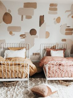 Room Trends - Canyon Colors Mahria of gave her twin girls the cutest bedroom using our Canyon Colors decal pack! Room Decor Bedroom, Girls Bedroom, Toddler Bedroom Ideas, Baby And Toddler Shared Room, Little Girl Rooms, My New Room, Room Inspiration, Interior Design, Home Decor