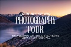 A list of the best photography spots around New Zealand, the south island in particular.