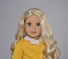 Adorable-CUSTOM-American-Girl-Doll-Long-Blonde-Curls-Bright-Great-Price