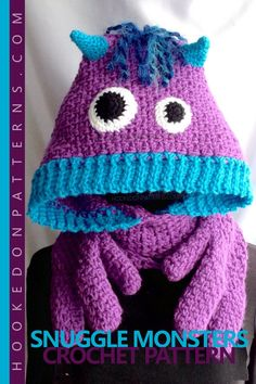 Snuggle Monster crochet pattern from Hooked On Patterns.  A cosy oversized hood, warm scarf and fun monster hand pockets all in one! Create these friendly Snuggle Monsters to keep you or little ones warm through the winter. A fun winter accessory for keeping toasty! #crochet #scarf #pattern