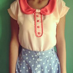 blue polka dot button down skirt with pink Peter Pan collared shirt. love!