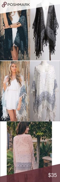 """DAISY spring paisley kimono - BLACK Paisley Kimono with Tassel 100% Polyester Dimension 45"""" x 28.5"""" Tassel Length 3"""".   NO TRADE. PRICE FIRM  AVAILABLE IN IVORY & BLACK Bellanblue Accessories Scarves & Wraps"""