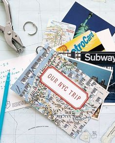Cute way to display key things (Metrocard, Broadway tickets, subway map, etc) used in NYC!