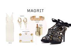 #Magrit Te ayudamos con un look trendy Black & White con vestido blanco de corte recto y complementos dorados a juego con nuestro zapato AMAYA. #DionLee,#Rosantica#Givenchy#Dolce&Gabbana#Charlotte Olympia LINK WEB: http://www.magrit.es/black-style