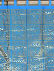 """Blue Peacock Brocade Curtain Panel - Stylish Lined Indian Window Treatments 82"""""""