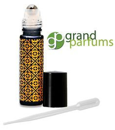 12 BLACK w/ GOLD OVERLAY Glass 10ml Roll On by GrandParfums