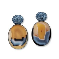 Hemmerle blue and yellow agate earrings