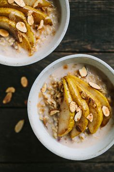 Creamy Whole Oats with Cardamom Roasted Pears - try with not quite ripe pears 1 cups whole oat groats 2 cups water 1 cup milk of choice 3-4 medjool dates, pitted and chopped pinch of salt ½ teaspoon of vanilla  CARDAMOM ROASTED PEARS 3 ripe but firm pears 2 tablespoons maple syrup 1 tablespoon extra-virgin olive oil ½ teaspoon cardamom ¼ teaspoon cinnamon Toasted sliced almonds, for serving