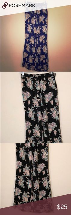 Brandy Melville Floral Pants One Size Brandy Melville Floral Pants OS  Great condition no rips stains or tears  Elastic waist band that measures 13 to 18 inches in one direction   inseam measures 31 inches  Lightweight material Brandy Melville Pants Jumpsuits & Rompers