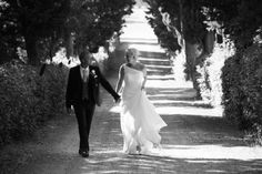 Walking up the Cypress Alley - Wedding in Tuscany | Tuscan Dreams