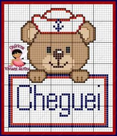 Ursinho Cross Stitching, Cross Stitch Embroidery, Embroidery Patterns, Baby F, Baby Mickey, C2c Crochet, Chart Design, Cross Stitch Baby, Baby Knitting Patterns