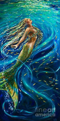 Shop for mermaid art from the world's greatest living artists. All mermaid artwork ships within 48 hours and includes a money-back guarantee. Choose your favorite mermaid designs and purchase them as wall art, home decor, phone cases, tote bags, and more! Fantasy Mermaids, Mermaids And Mermen, Real Mermaids, Mythical Creatures, Sea Creatures, Mermaid Fairy, Tattoo Mermaid, Mermaid Mermaid, Vintage Mermaid