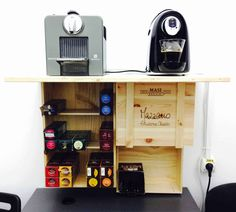 A Barista cabinet made from 3 repurposed wine wood crates, at my office, for my colleagues. Simple & Useful! #Cabinet, #Upcycled, #Wine #Do-It-YourselfIdeas, #RecycledFurniture