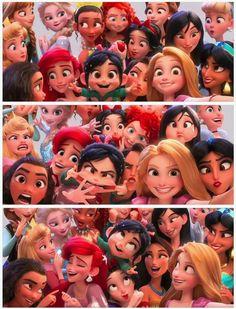 Vanellope and the Disney Princesses in Wreck-it Ralph 2 Disney Pixar, Walt Disney, Disney Animation, Cute Disney, Disney And Dreamworks, Disney Girls, Disney Cartoons, Disney Art, Disney Magic