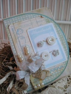 shabby chic BUTTONS PATTERN spool handmade for you stitched handmade card