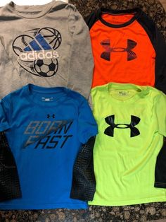 EUC Lot of 4 Under Armour and Adidas Long Sleeve Shirts Boys Size 4  fashion 8a02fbd6f