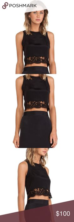 Olcay Gulsen Lace Hem Crop Top - Black •100% silk •Dry clean only •Exposed back center zip closure •Lace trim Olcay Gulsen Tops Crop Tops