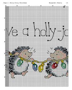 Holly-Jolly Christmas 2/5 Hedgehog Cross Stitch, Xmas Cross Stitch, Cross Stitch Kits, Cross Stitch Charts, Cross Stitch Designs, Cross Stitch Patterns, Quilt Stitching, Cross Stitching, Cross Stitch Embroidery