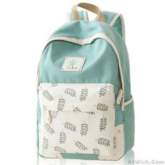 Wow~ Awesome Fresh Leaf School Rucksack Leaves Printed Lady College Canvas Backpack ! It only $37.99 at www.AtWish.com! I like it so much<3<3!