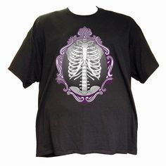 Victorian X-Ray on black. Unisex t-shirt available in sizes up to 5x.