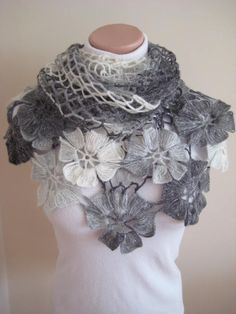 White Gray Shawl - White, Light and Dark Grey Flower Floral Triangle Shawl - Gift for Her - Ready for Shipping